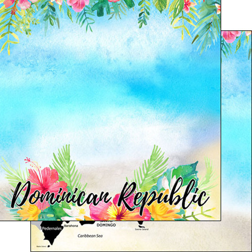 Getaway Collection Dominican Republic 12 x 12 Double-Sided Scrapbook Paper by Scrapbook Customs
