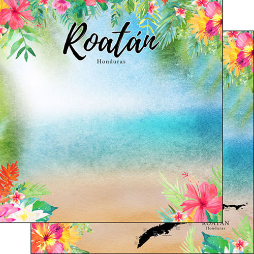 Getaway Collection Roatan, Honduras 12 x 12 Double-Sided Scrapbook Paper by Scrapbook Customs