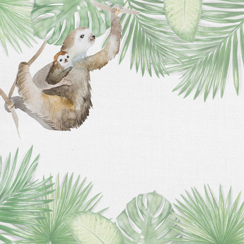 African Safari Collection Sloth 12 x 12 Double-Sided Scrapbook Paper by Scrapbook Customs