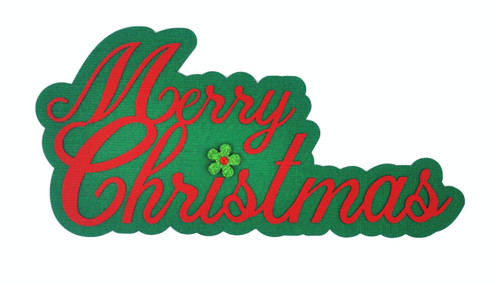 Merry Christmas 3 x 6 Laser Cut Scrapbook Embellishment by SSC Laser Designs