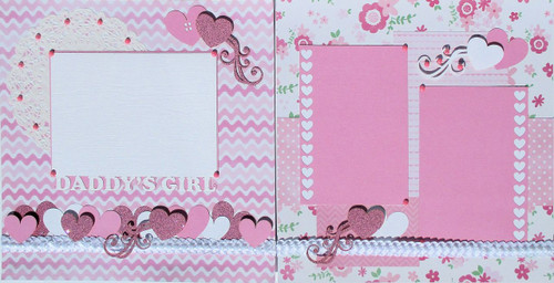 Daddy's Girl Hand-Crafted Two-Page Embellished Scrapbook Layout by SSC Designs