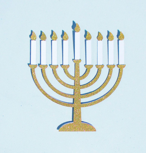 Hanukkah Menorah 4 x 6 Gold Glittered Laser Cut Scrapbook Embellishment by SSC Laser Designs
