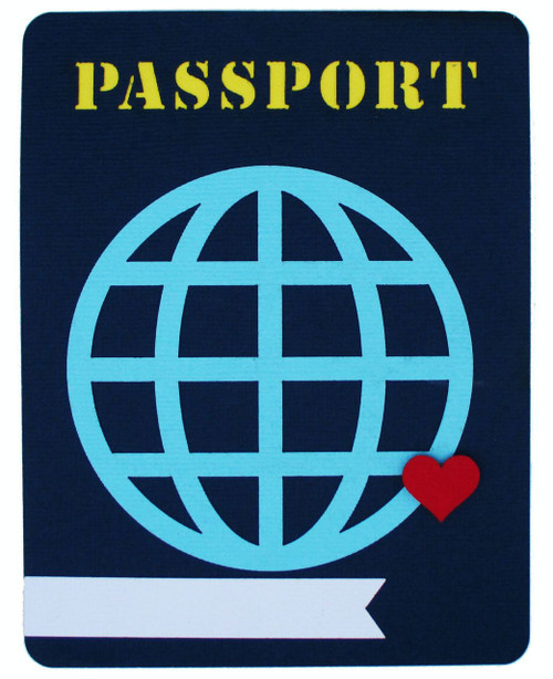 Passport 4 x 5 Fully-Assembled Laser Cut Scrapbook Embellishment by SSC Laser Designs