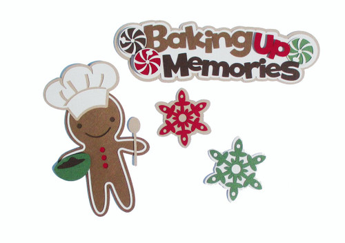 "Baking Up Memories 2.5 x 7.5 Title with 6"" Gingerbread Man & Cookies Fully-Assembled Laser Cut Scrapbook Embellishment by SSC Laser Designs (original design by Miss Kate Cuttables)"