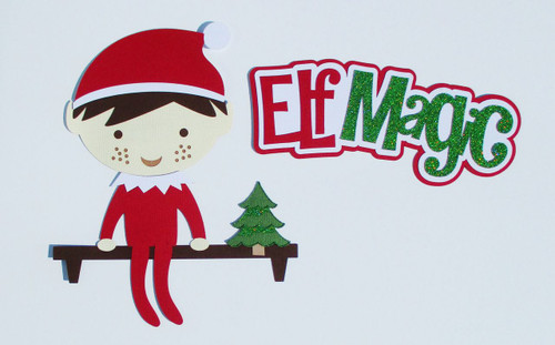 Elf Magic 2.5 x 7 Title & 7 x 8 Elf On A Shelf Fully-Assembled Laser Cut Scrapbook Embellishment by SSC Laser Designs (original design by Miss Kate Cuttables)