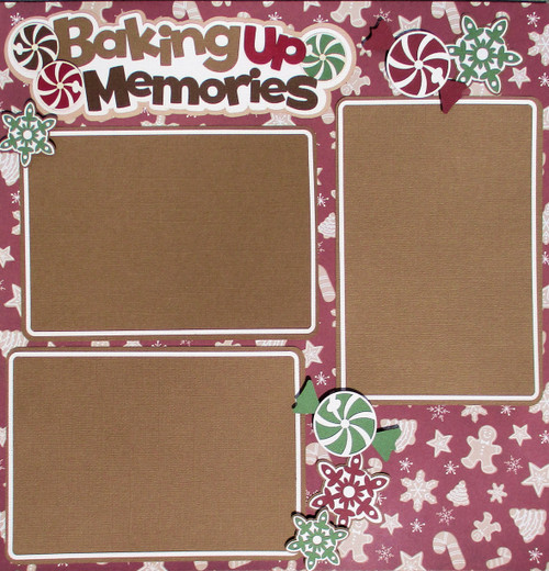 Baking Up Memories Gingerbread Premade Embellished Two-Page 12 x 12 Scrapbook Layout by SSC Designs