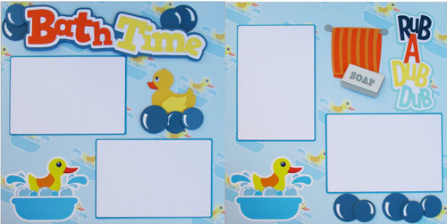 Bath Time Premade Embellished Two-Page 12 x 12 Scrapbook Layout by SSC Designs
