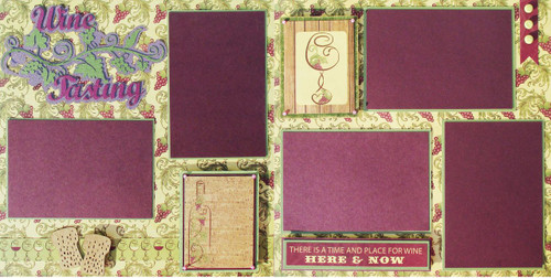 Wine Tasting Pre-Made Embellished Two-Page 12 x 12 Scrapbook Layout by SSC Designs