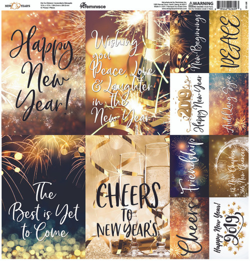 New Year's 2019 Collection 12 x 12 Cardstock Sticker Sheet by Reminisce