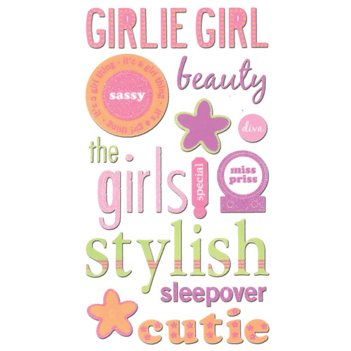 Girlie Girl 4 x 7 Glittered Scrapbook Sticker Sheet by Sticko