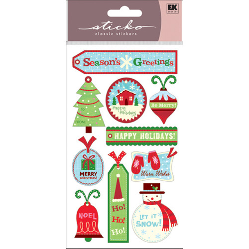 Christmas Tags 4 x 7 Glittered Scrapbook Sticker Sheet by Sticko