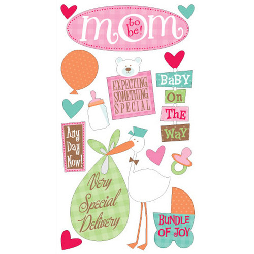 Mom To Be 4 x 7 Glittered Scrapbook Sticker Sheet by Sticko