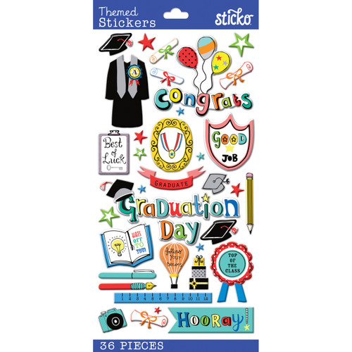 Graduation Plus 4 x 8 Scrapbook Embellishment by Sticko