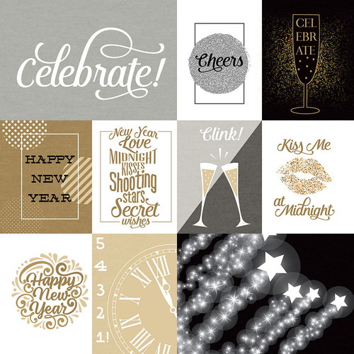 Hello New Year 2 Collection 3 x 4 Cards 12 x 12 Double-Sided Scrapbook Paper by Photo Play Paper