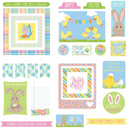 Bunny Trail Collection Ephemera 5 x 5 Scrapbook Die Cuts by Photo Play Paper