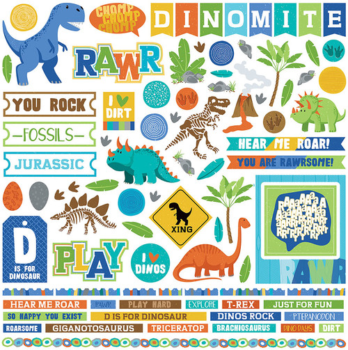 Jurassic Collection 12 x 12 Element Stickers  by Photo Play Paper