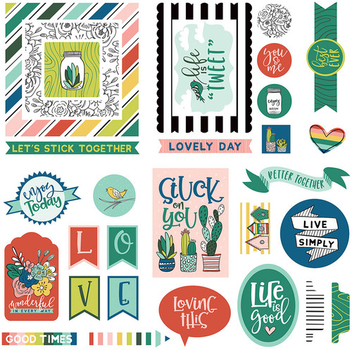 Stuck On You Collection Ephemera 5 x 5 Scrapbook Die Cuts by Photo Play Paper
