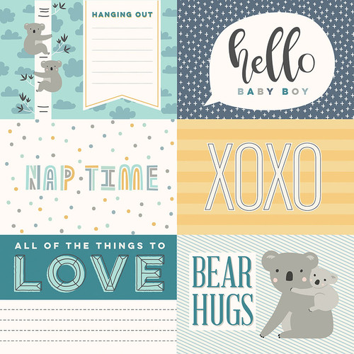 Snuggle Up Collection Boy Hello Baby Boy 12 x 12 Double-Sided Scrapbook Paper by Photo Play Paper