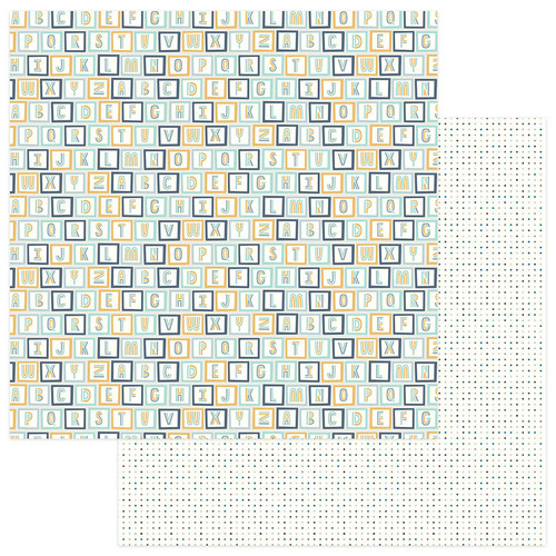 Snuggle Up Collection Boy All Stacked Up 12 x 12 Double-Sided Scrapbook Paper by Photo Play Paper