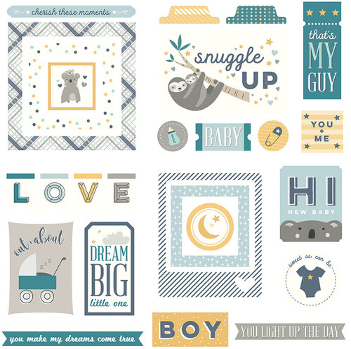 Snuggle Up Collection Boy Ephemera 5 x 5 Scrapbook Die Cuts by Photo Play Paper