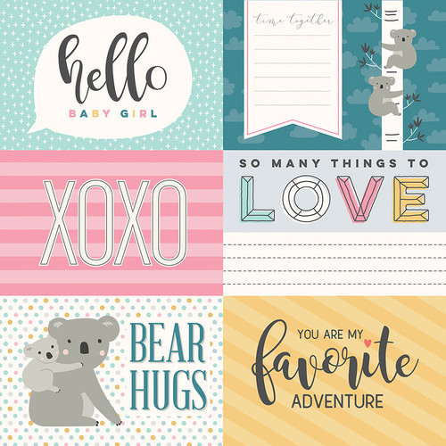 Snuggle Up Collection Girl Hello Baby Girl 4 x 6 Cards 12 x 12 Double-Sided Scrapbook Paper by Photo Play Paper