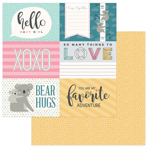 Snuggle Up Collection Girl Hello Baby Girl 4x6 Cards 12 x 12 Double-Sided Scrapbook Paper by Photo Play Paper
