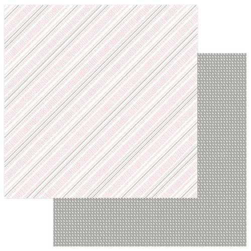 Snuggle Up Collection Girl Stitched in Love 12 x 12 Double-Sided Scrapbook Paper by Photo Play Paper