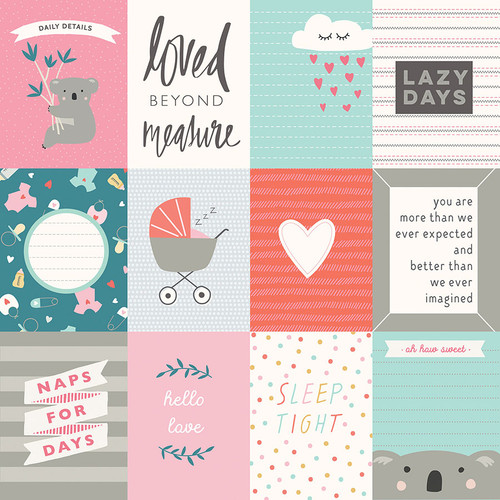 Snuggle Up Collection Girl Loved Beyond Measure 3 x 4 Cards 12 x 12 Double-Sided Scrapbook Paper by Photo Play Paper