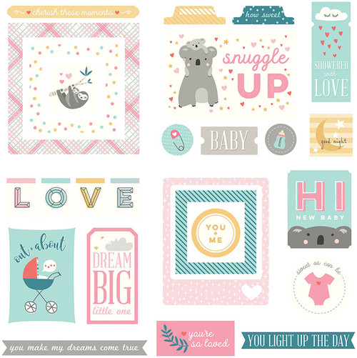 Snuggle Up Collection Girl Ephemera 5 x 5 Scrapbook Die Cuts by Photo Play Paper