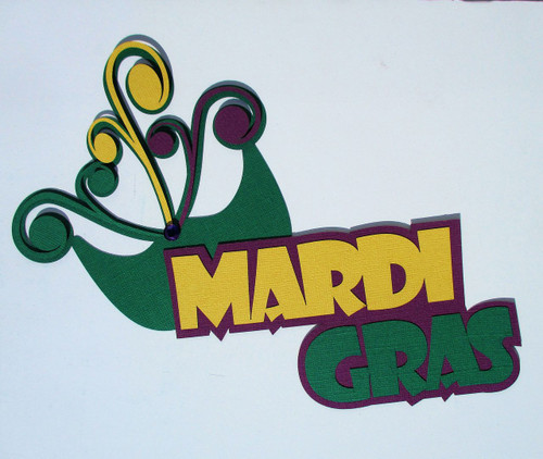 Mardi Gras & Mask 4 x 7 Laser Cut Scrapbook Embellishment by SSC Laser Designs