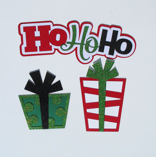 Ho Ho Ho & Presents 3 x 7 Glittered Laser Cut Scrapbook Embellishment by SSC Laser Designs (original design by Miss Kate Cuttables)