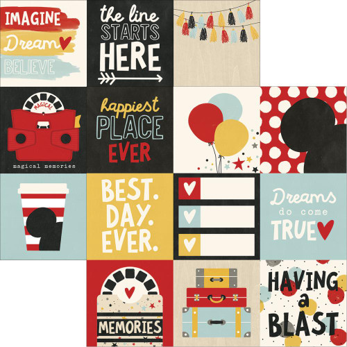 Say Cheese 3 Collection 4 x 6 Vertical Elements 12 x 12 Double-Sided Scrapbook Paper by Simple Stories