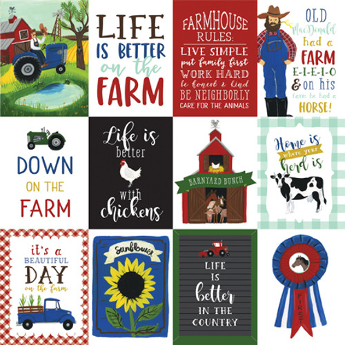 Down On The Farm Collection 3 X 4 Journaling Cards 12 x 12 Double-Sided Scrapbook Paper by Echo Park Paper