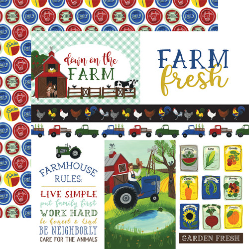 Down On The Farm Collection 4 X 4 Journaling Cards 12 x 12 Double-Sided Scrapbook Paper by Echo Park Paper