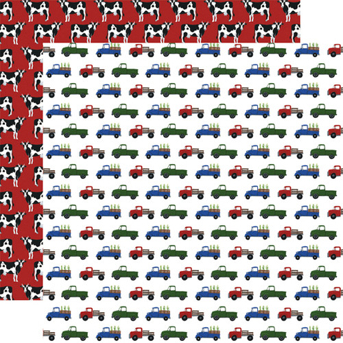 Down On The Farm Collection Farm Trucks 12 x 12 Double-Sided Scrapbook Paper by Echo Park Paper