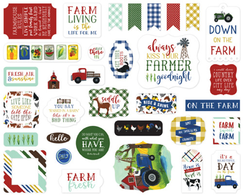 Down On The Farm Collection 4 x 4 Ephemera Scrapbook Cardstock Die Cut Pieces by Echo Park Paper - 33 Pieces