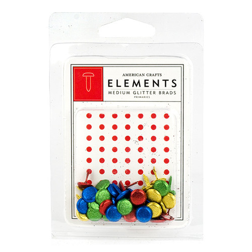 Elements Collection Primaries Medium Glitter Brads by American Crafts - 40 Pieces