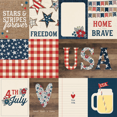 Let Freedom Ring Collection 3 x 4 & 4 x 6 Elements 12 x 12 Double-Sided Scrapbook Paper by Simple Stories
