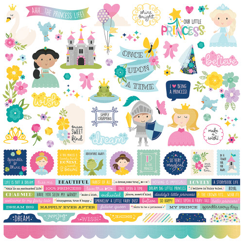 Little Princess Collection 12 x 12 Scrapbook Combo Sticker Sheet by Simple Stories