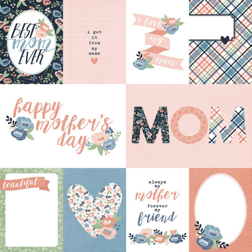Mom's Day Collection 3 x 4 & 4 x 6 Elements 12 x 12 Double-Sided Scrapbook Paper by Simple Stories