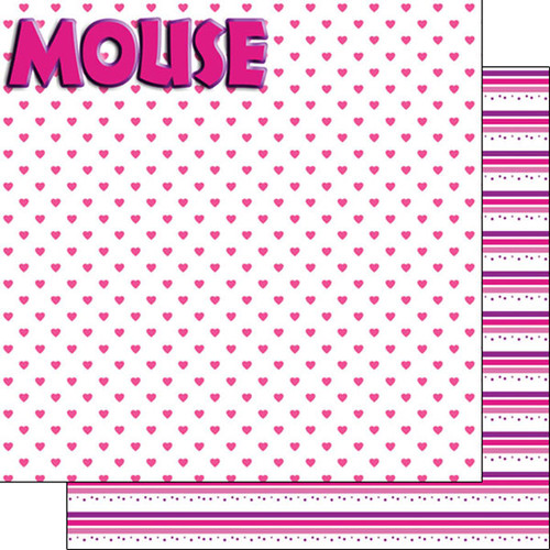 Magical Day of Fun Collection Pink Mouse 12 x 12 Double-Sided Scrapbook Paper by Scrapbook Customs