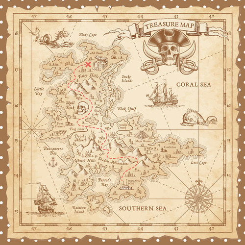 Magical Day of Fun Collection Treasure Map 12 x 12 Double-Sided Scrapbook Paper by Scrapbook Customs