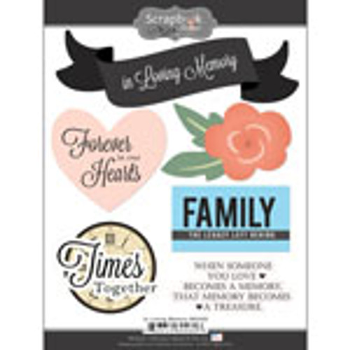 In Loving Memory Collection 6 x 8 Scrapbook Sticker Sheet by Scrapbook Customs