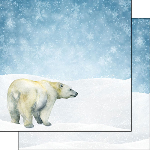 African Safari Collection Polar Bear 12 x 12 Double-Sided Scrapbook Paper by Scrapbook Customs