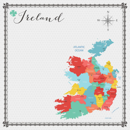 Travel Memories Collection Ireland Map 12 x 12 Double-Sided Scrapbook Paper by Scrapbook Customs