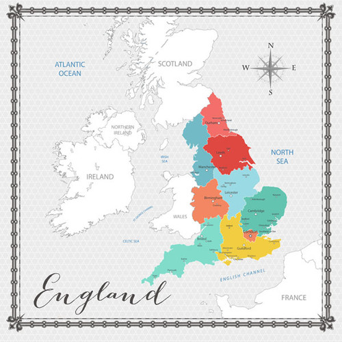 Travel Memories Collection England Map 12 x 12 Double-Sided Scrapbook Paper by Scrapbook Customs