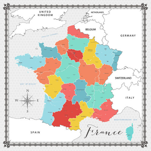 Travel Memories Collection France Map 12 x 12 Double-Sided Scrapbook Paper by Scrapbook Customs