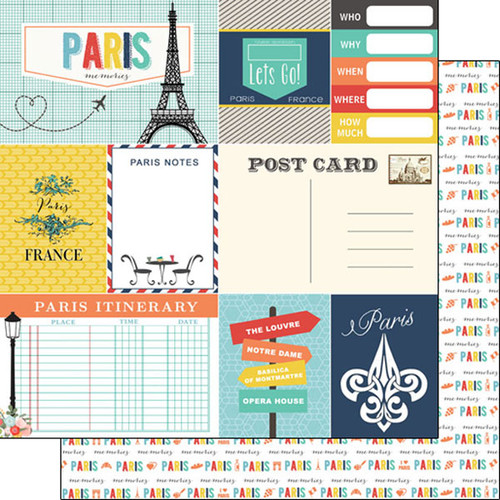 Travel Memories Collection Paris Journal 12 x 12 Double-Sided Scrapbook Paper by Scrapbook Customs