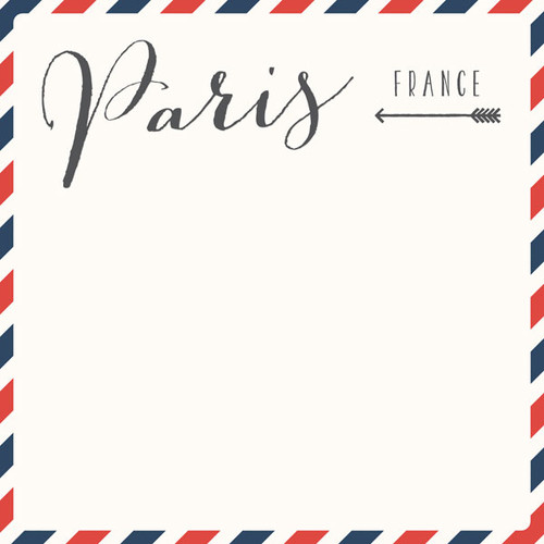Travel Memories Collection Paris Air Mail 12 x 12 Double-Sided Scrapbook Paper by Scrapbook Customs