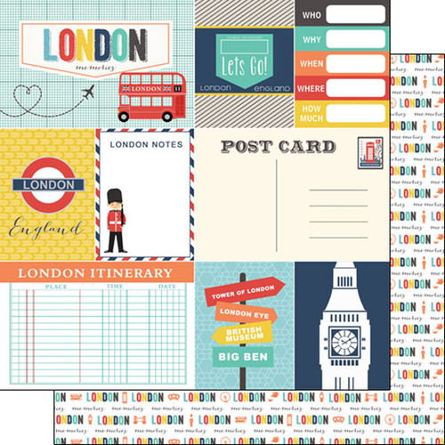 Travel Memories Collection London Journal 12 x 12 Double-Sided Scrapbook Paper by Scrapbook Customs